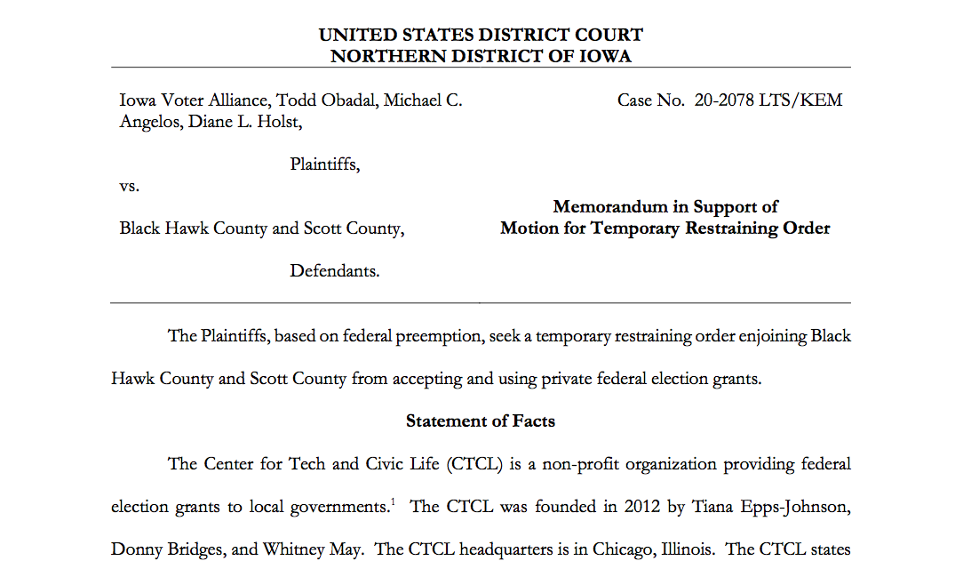 Iowa Voter Alliance Sues Scott County Over CTCL Election Grnt