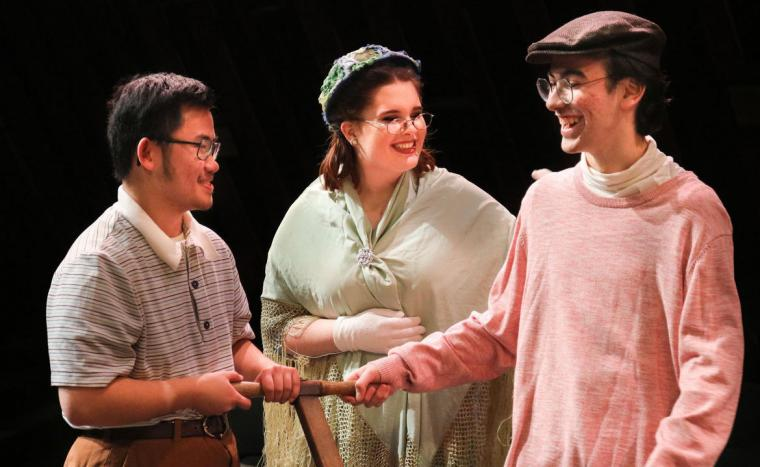 Nolan Schoenle, Jenya Loughney, and Ghazy Mahamid in The Boxcar Children